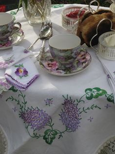 lilac embroidered tea cloth