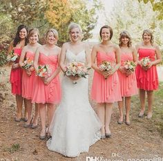 Charming Coral Chiffon Short Bridesmaid Dresses Sweetheart A line Plus Size Summer 2017 Custom Real Image