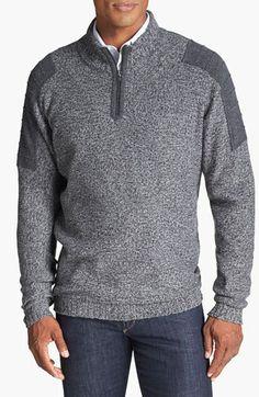 Half zip sweater, set in sleeve with shoulder overlay panel.