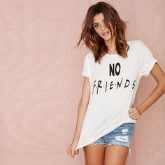 No friends vintage white t-shirt