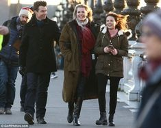 Beaming: On Monday, Rebecca Romijn and husband Jerry O'Connell were spotted on set togethe...