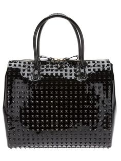 Valentino Garavani Rockstud Double Handle Patent Bag with Studs