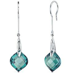 Onion Cut 18.50 Carats Alexandrite Dangle Earrings in Sterling Silver Rhodium Finish Peora. $79.99