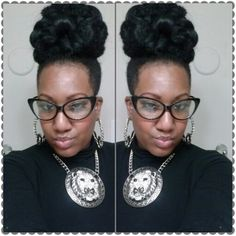 "Another Marley Bun created with 2 bags of hair...This is always my,""Go To""Style when Im out of hair ideas!:))).....Its Quik,Cute, And Easy'"