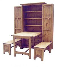 """Cowboy Kitchen: Unique hide-away dining with ample storage and seating. Open dimensions: 79""""H x 70""""W x 57""""D. Table size: 31""""H x 33""""W x 46"""" D"""