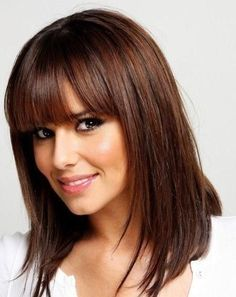 Rich Chocolate Brown Hair Color | Brown Hair with Cut Bangs - Hairstyles and Beauty Tips