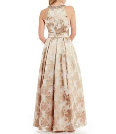 c2c15cf6839e Eliza J Beaded Halter Neck Floral Jacquard Ball Gown #Dillards Eliza J  Dresses, Cruise