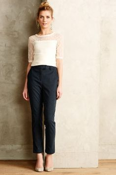 Chainlink Textured Trousers - anthropologie.com