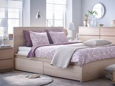 IKEA MALM bedroom series featured in white-stained oak