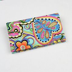 Hip Happy Fabric Checkbook Cover for Duplicate by QuiltSewCover, $13.00