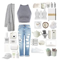 """""""Gray and white, clear"""" by julixjulix ❤ liked on Polyvore featuring Genetic Denim, McCoy Design, Three Hands, LEFF Amsterdam, Visionnaire, Crate and Barrel, Dot & Bo, Stila, Obsessive Compulsive Cosmetics and adidas"""