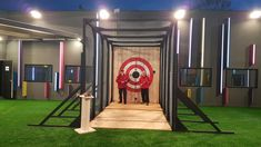 The Celebrity Big Brother house axe target. Big Brother House, Knife Throwing, Cultural Artifact, Celebrity Big Brother, Axe, Target, Outdoors, Design, Exterior