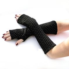 Soft Black  with White Dots  Fingerless Gloves   Arm by WearMeUp
