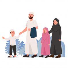 Arabian muslim family walk together Prem. Family Illustration, Flat Design Illustration, Graphic Illustration, Islamic Posters, Islamic Art, Islamic Quotes, Cute Muslim Couples, Cute Couples, Poster Ramadhan