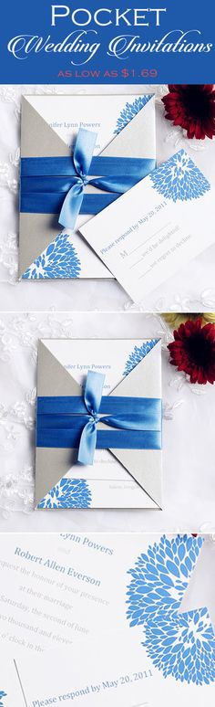 blue and gray wedding color inspired elegant pocket wedding invitations