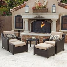The Cantina outdoor seating set includes two club chairs and two ottomans with an elegant side table. This stylish outdoor furniture set will make a beautiful addition to any backyard oasis.