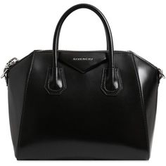 Givenchy Women Small Antigona Shiny Leather Bag (38 710 ZAR) ❤ liked on Polyvore featuring bags, handbags, shoulder bags, accessories, black, leather handbags, givenchy, logo bags, triangle bag and genuine leather purse