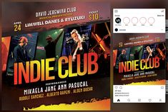 Indie Club Flyer by KiraYamato Design Studio on Logo Templates, Flyer Template, Concert Flyer, Club Flyers, Wonder Woman Logo, Your Story, Musicals, Indie, Presentation