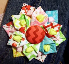 Folded Fabric Flower Pattern  Download Instructions by aSundayGirl, on Etsy