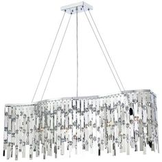 """$600 - Possini Euro Wave Rectangle Chrome and Crystal Chandelier 41"""" wide x 5 3/4"""" high x 6"""" deep."""