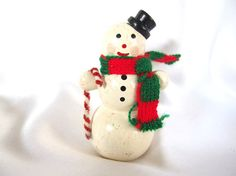 Vintage Christmas Decoration, Wooden Snowman Decoration