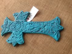 Teal Distressed Cast Iron Wall Cross Wall Decor on Etsy, $15.00
