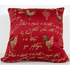 @Overstock.com - This heavy woven red pillow features embroidered french script in gold along with various roosters. This decorative pillow has a coordinated gold diamond backing.http://www.overstock.com/Home-Garden/French-Rooster-Red-Decorative-Pillow/6362287/product.html?CID=214117 44.99