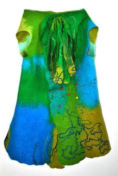Hand Felted hand made felting merino wool Art Seamless sleeveless Vest Jacket Dress Spring Summer in Blue Green size UK 16/18 GIFT idea
