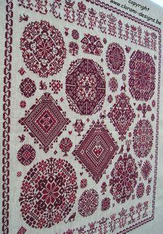 Red cross stitch Sampler à la Vierlanden from Clorami Designs. www.clorami-designs.be