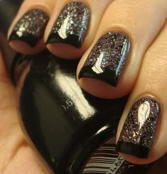 Black french tips over pewter sparkle. Love.