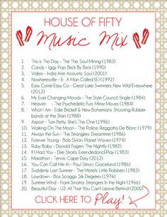 House of Fifty music mix (play list)