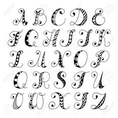 Sketch hand drawn alphabet black and white font letters isolated vector illustration Stock Vector
