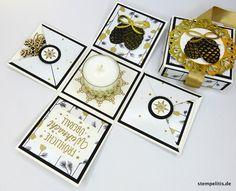 Geschenkverpackungen - Explosionsbox Weihnachten Goldzapfen - ein Designerstück von Stempelitis bei DaWanda