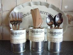 washe lace tape on cans - Tin Can Crafts, Diy And Crafts, Cutlery Storage, Cutlery Holder, Tin Can Alley, Deco Champetre, Altered Tins, Ideias Diy, Shabby Vintage