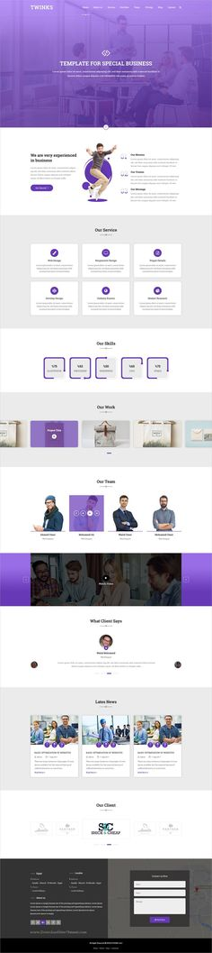 Twinks is clean and modern design onepage #PSD template for #business agencies website download now..