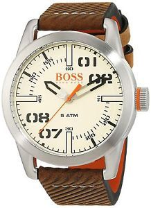 fdb935a68493 Boss Orange - Paris Leather Strap Watch Light Brown Beige Brown One size