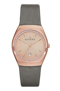 This Skagen crystal framed leather strap watch has such a delicate color mix of rose gold and grey.