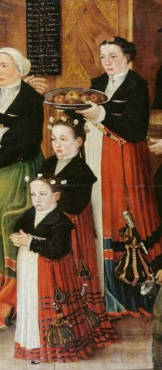 1559 painted by Hans Hug Kluser - Hans Rudolf Faesch and his family DETAIL. Note that each of the three girls in the red dresses is wearing a knife.