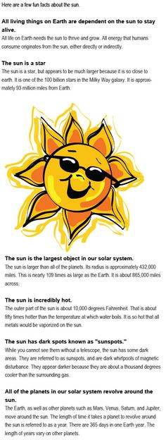 Facts about the sun for kids http://firstchildhoodeducation.blogspot.com/2013/08/facts-about-sun-for-kids.html