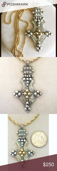 """Signed Greek Designer 14k Sterling Byzantine Cross This cross is simply beautiful!  Beautifully detailed Byzantine style cross with unique hinged top - Just over 2-1/2"""" long - I had tested and confirmed center cross design is solid 24k gold - Designer signed in Greek along with 585 / 925 - The front is polished and ready to wear. In very good pre-owned, loved and worn condition - Some wear and patina shows on the back but nothing major.  Vintage designed necklace shown is included - It is…"""