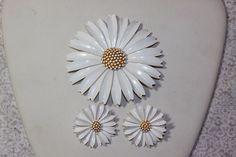 Vintage Crown Trifari Metal Enameled 3 Dimensional White Flower Pin & Earrings. Starting at $29
