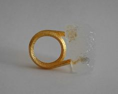 Iliana Tosheva Ring: 18K Yellow Gold and Bio Resin Ring, 2015 18K sand textured yellow gold, translucent bio resin