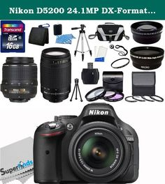 Nikon D5200 24.1MP DX-Format CMOS Sensor Digital SLR Camera (Black) - International Version (No Warranty) with 18-55mm f/3.5-5.6G AF-S DX VR and Nikon AF Zoom Nikkor 70-300mm f/4-5.6G Lens (Manual Focus) + Wide Angle + Telephoto + Full 32GB Deluxe Accessory Bundle. The Nikon D5200 Digital SLR Camera with 18-55mm Lens features a 24.1MP DX-format CMOS sensor and EXPEED 3 image processor to produce high quality imagery while delivering fast performance to all camera functions. The…