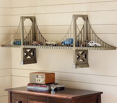Bridge Shelf - Love this shelf! Great for a car theme for a kid or a retro theme for an adult.