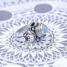 Crescent Moon Locket Ring with Rainbow Moonstone
