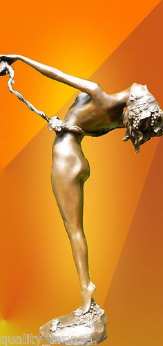"Art Deco"" The Vine ""Signed,Bronze Statue Figurine."