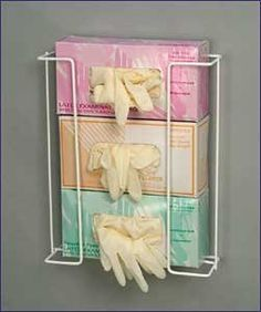 """3 Box Glove Dispenser Rack, Wall Mount, Space-Saver Exam Glove Holder, White by Rack'em. $28.30. Glove Dispenser,Organize latex, vinyl and nitrile exam gloves for quick and easy access. Holds all glove sizes used in one convenient rack. 3 Boxes, Dimensions: 14""""H x 11.25""""W x 4""""D,White. GLOVES NOT INCLUDED"""