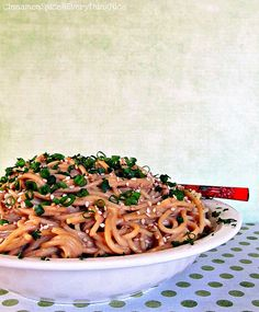 Peanut Butter Sesame Noodles - ours ended up like a paste more than a sauce, but they were good!