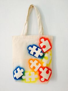 Autism Awareness Canvas Tote Bag Puzzle by SundayBestClothingCo