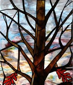 too many branches, like the perspective, cobalt blue background, like the brown glass color